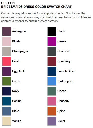 Bridesmaids dress color swatches