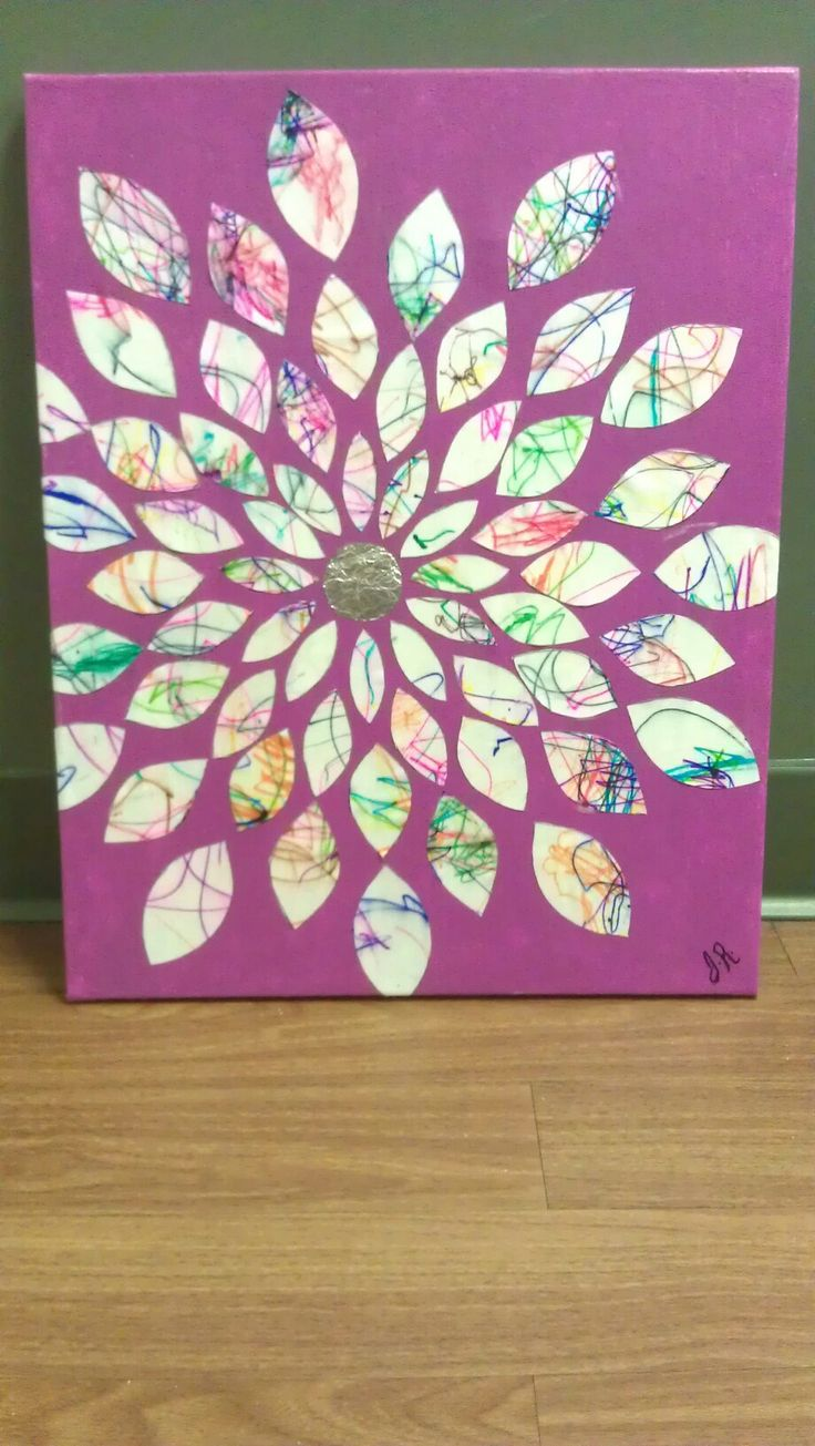 Could use thread or fibers on fabric instead of crayon.  Then cut out petals and make art quilt