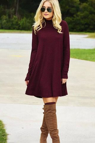 Warm Wishes Textured Knit Burgundy Turtleneck Swing Dress