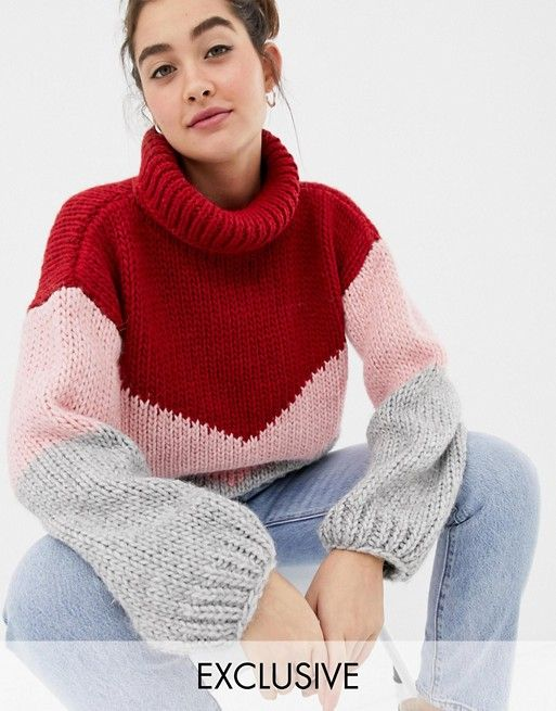 0c09270e67e94 AlternateText. OneOn Hand Knitted Color Block Sweater ...