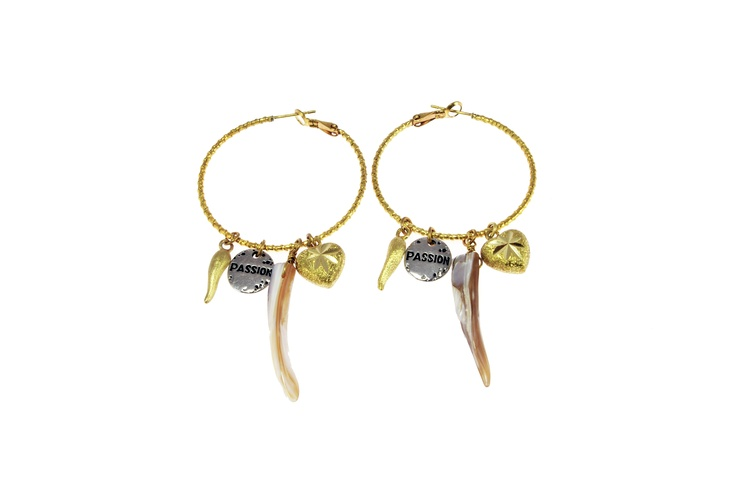Sam Ubhi Gold Coloured Hoops with Shell, Horn, Heart and Passion Charms