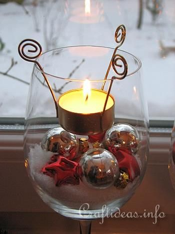Christmas Table Decoration -Tealight Candle Glasses - Detail