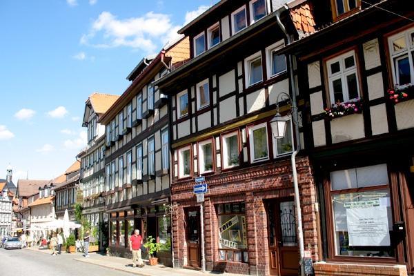 Fachwerkhäuser in der Marktstraße in Wernigerode.