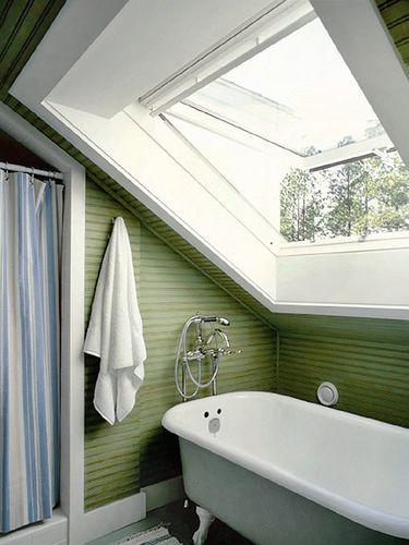 Of all the uses for attics, possibly my favourite, is as a sunny bath room... This particular choice of colour also appeals to me greatly, now all it needs is lots of plants.