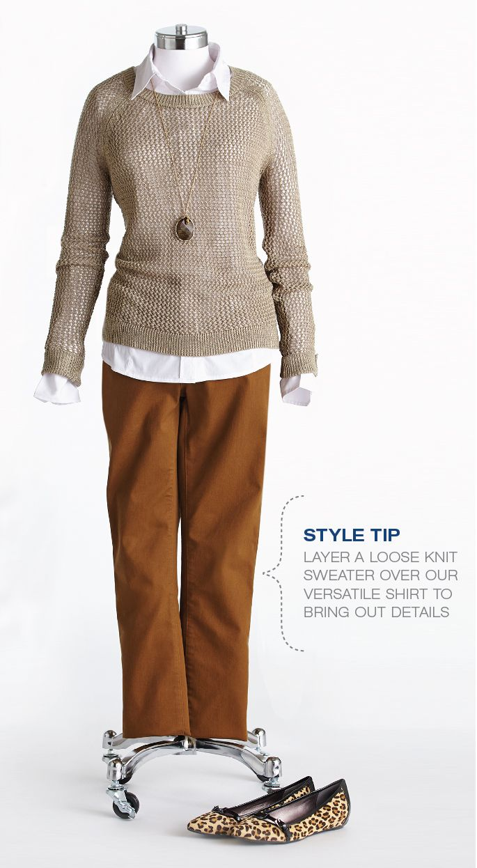 "Cleo Fall Style with Lynn Spence: Style Tip ""Layer loose knit sweater over white shirt to bring out the details."""