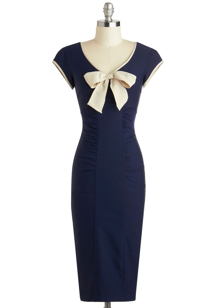 Sheath a Lady Dress in Navy by Stop Staring! - Long, Blue, Tan / Cream, Bows, Trim, Ruching, Cocktail, Sheath / Shift, Cap Sleeves, Scoop, Solid, Vintage Inspired, 40s, Pinup