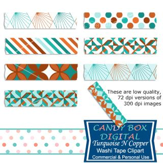 Turquoise N Copper Washi Tape Clip Art - These beautiful turquoise and copper washi tape are like jewelry for your scrapbooks, journals, invitations, cards, newsletters, as website dividers, etc...