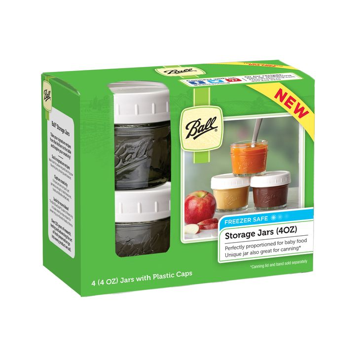 Perfectly proportioned for baby food, the Ball Regular Mouth 4-oz. baby food jars come with plastic storage caps.