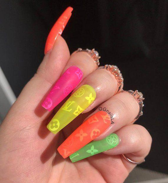 Neon Popsicle Lv Press On Nails Designer Nails Acrylic Nails Fake Coffin Nails Faux Nails Bir Nailsacrylic Nails Gel Nails Nail Designs