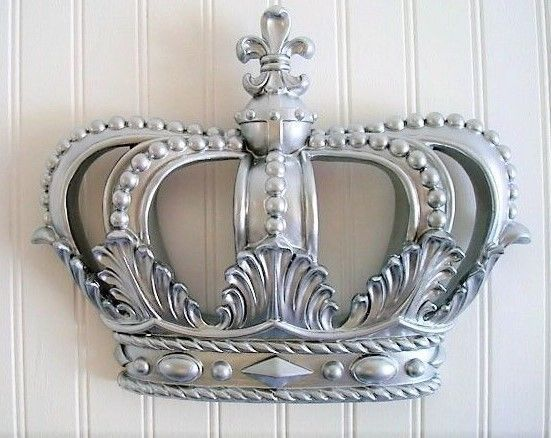 Silver Crown Wall Decor Nursery Crib Crown Canopy Prince Princess
