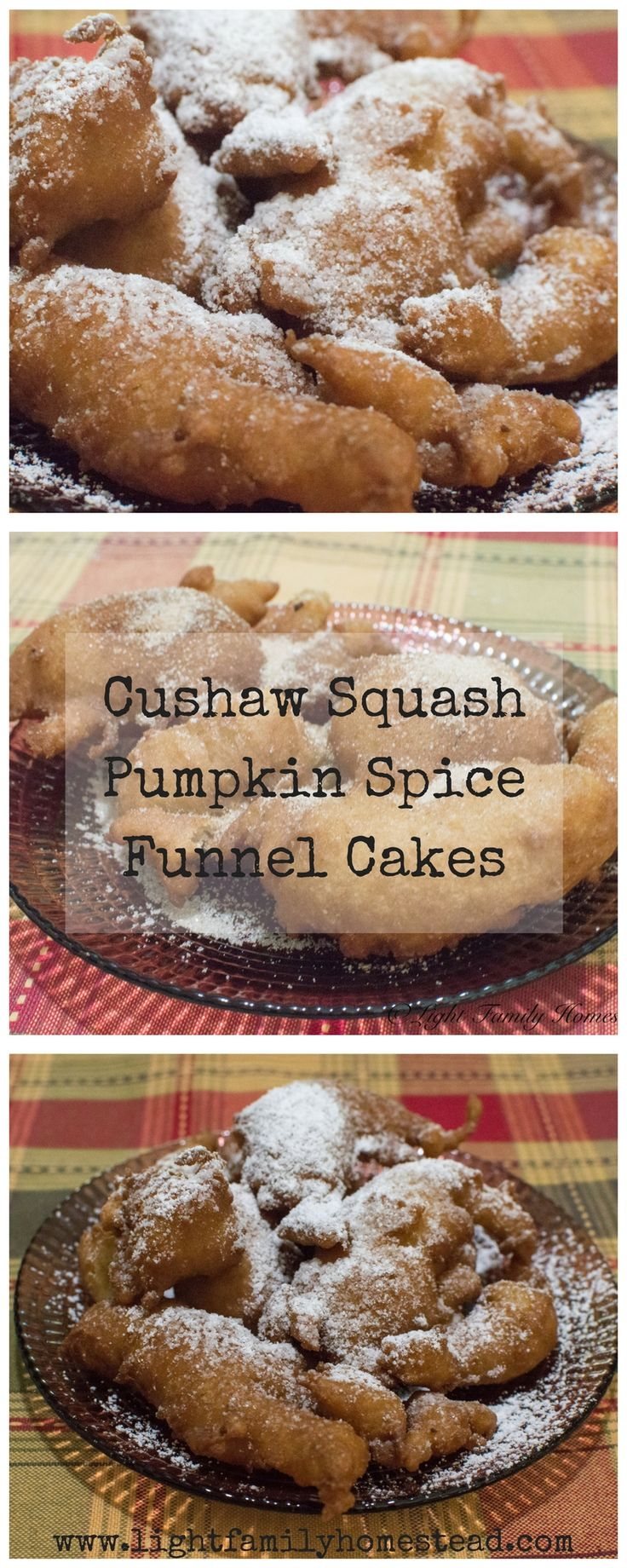 Cushaw Squash Pumpkin Spice Funnel Cakes-This recipe is just as good as it sounds. With the wonderful tastes of fall, you're sure to love this pumpkin spice funnel cake recipe. Learn how to make it by visiting our blog at www.lightfamilyhomestead.com. #pumpkinspice #funnelcake #fallrecipes #cushawsquash #cushawsquashrecipe #pumpkinspicerecipe #pumpkinspicefunnelcake #funnelcakerecipe