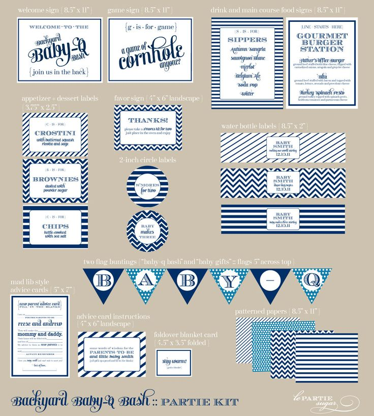 Baby-Q Bash Partie Kit : Midnight Blue, Emerald and Coral Options available - PRINTABLE. $50.00, via Etsy.