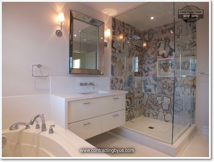 http://www.contractingbyus.com/portfolio/bathrooms/#727  #urban #graffiti #artlife #PerondaGroup #Bansky #tiles #streetart #home #master #bathroom #renovation #remodelling #house #renovationideas #renovationinspiration #OakvilleON #MississaugaON #BurlingtonON #MiltonON #TorontoON #generalcontractor #webuildyourdream #shower #framelessshower #design #trends #designtrends