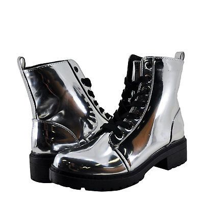 Womens Shoes Qupid Postal 02A Lace Up Metallic Boot Silver *New*