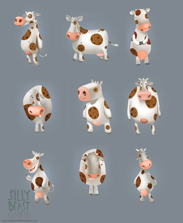 Cows by Therese Larsson, via Behance