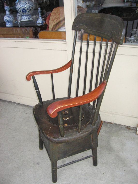 Highback Antique Spindle Back Commode Chair With Porcelain