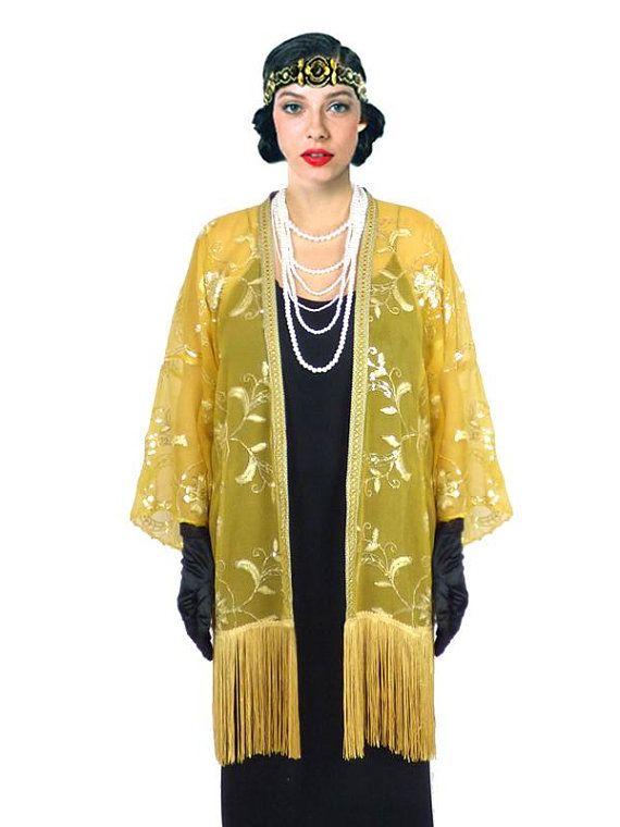3fbc1ba1b6d Kimono Flapper Jacket Floral Yellow Gold Sequin Embroidery Fringe Cardigan  Boho festival Cape Fringes Long Unique Artistic Outerwear Tassel