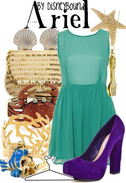 I love that dress, the dinglehopper necklace, the flounder charm, the purple pumps... AHH! I love it all!!