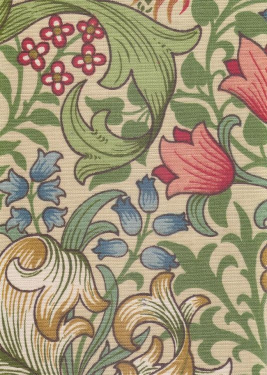 Golden Lily design by William Morris. Classic floral linen fabric print in greens on beige
