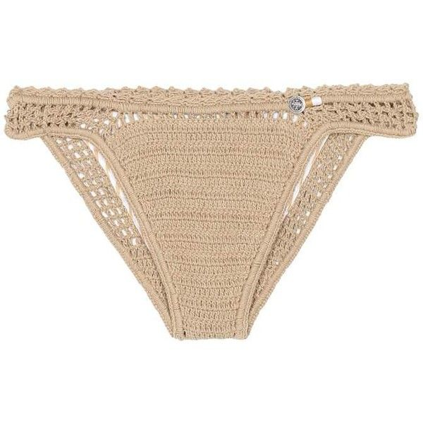 She Made Me Essential Mini Hipster Crochet Bikini Bottoms ($91) ❤ liked on Polyvore featuring swimwear, bikinis, bikini bottoms, beachwear, beige, beige bikini, bikini two piece, bikini bottom, crochet swimwear and mini bikini