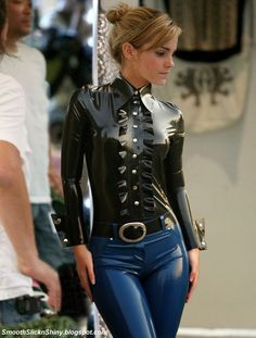 Emma Watson in shiny Latex blouse and Jeans by Andylatex