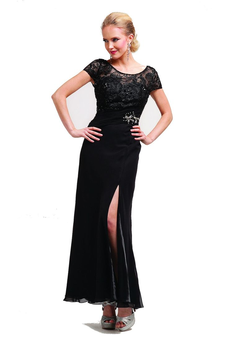 Long Mother of the Bride Dresses Short Sleeve Lace Chiffon Plus Size Gown Sale Groom