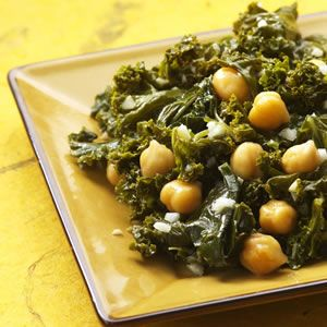 Indian-Spiced Kale & Chickpeas I'll sub spinach and serve over rice with my coconut curry chicken :)