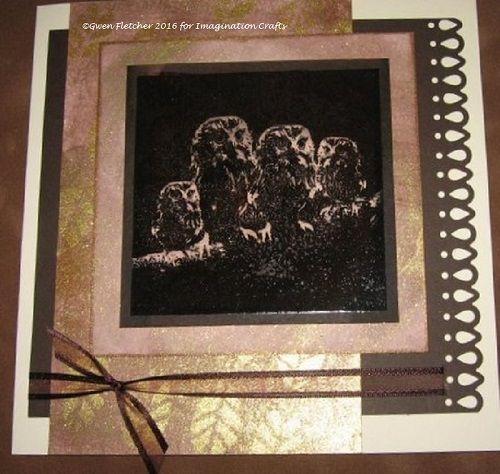 Baby Owls Art Stamp, Starlights, Leaf Vein stencil.