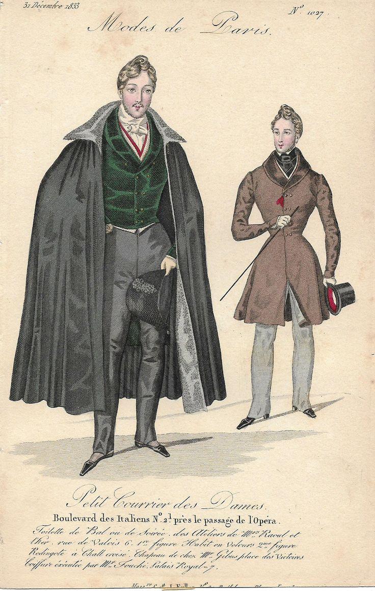 """Modes de Paris Fashion Plate - 1833 - """"""""BOULEVARD DES ITALIENS PRES DE L'OPERA"""""""" - H-C Lithograph"""