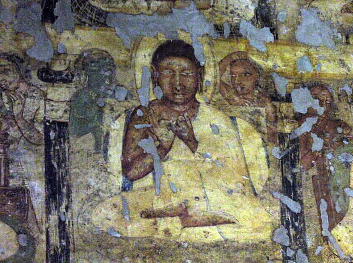 Ajanta cave painting of the buddha circa. 200 bc