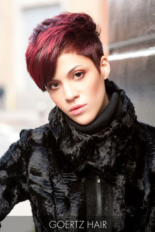 Pixie Haircut with Raspberry Hues
