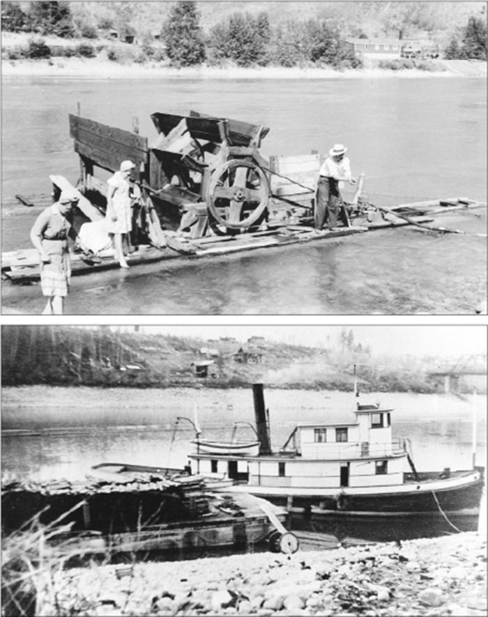 TOP: The Ozeroff water wheel was located just downstream of the railway bridge. The gate is fully down, stopping the wheel for the photo. The maintenance shop of the Waldie sawmill can be seen across the river. ABOVE: This view from the opposite side of the river shows the first homes on Cedar (1st) St. were well down the bank, close to the water. The Waldie tug, Elco II, with its fuel barge, is seen in the foreground.