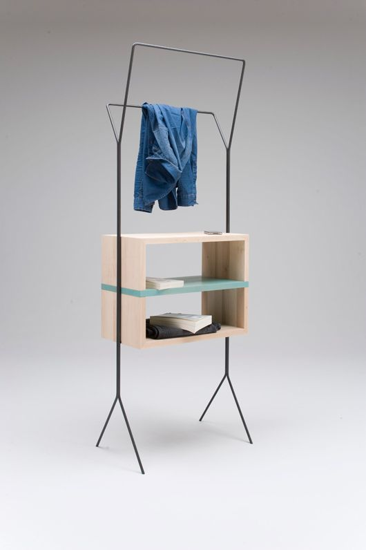 """""""Maisonnette"""" in French means small house. The aim here has been to propose a collection of furnitures that meets the contemporary need of sharing functions in the microliving spaces. It is a 3 pieces set: a stand/miniwardrobe, a cart/table and a basket/tray. Materials: solid alder wood treated with natural varnish and iron rod structure."""