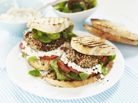 Vegetarian burgers made from eggplant, mushrooms and wheat berries