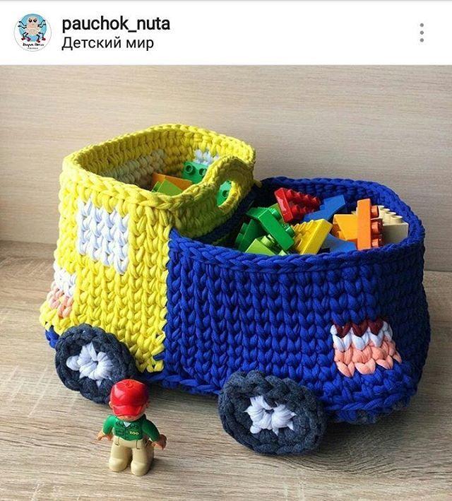 Cesto de ⛟.. Que lindoooooo . #crochet #croche #handmade  #fiodemalha #feitocomamor #feitoamao #trapilho #totora #knit #knitting #decor #quartodebebe #baby #cestodebrinquedos #cestodecroche #cestoorganizador #organizacao #cestodecaminhao #truck Por @pauchok_nuta