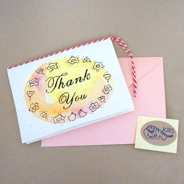 ハンドメイドマーケット minne(ミンネ)| ガリ版印刷グリーティングカード「Thank You」(テクスチャー)