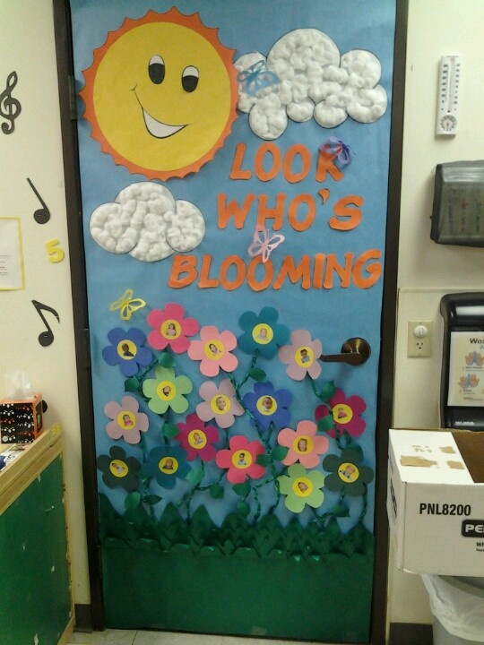 Spring Door Kids Faces On The Flowers Classroom