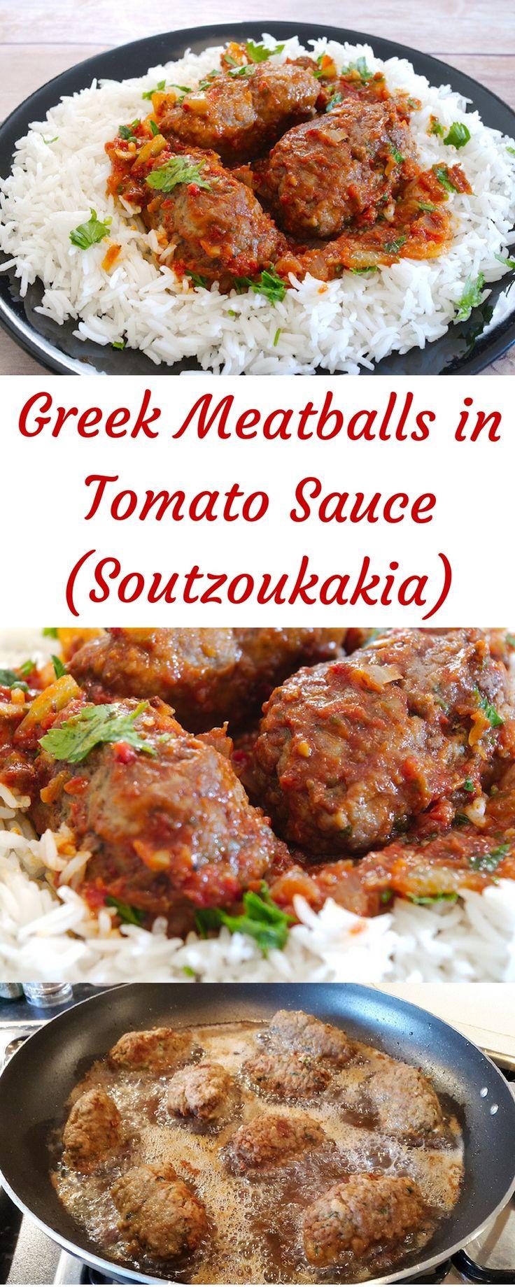 Spicy Greek Meatballs in Tomato sauce (Soutzoukakia)