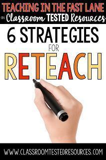 Six strategies to try while you reteach a concept. The 2nd one is so powerful!!