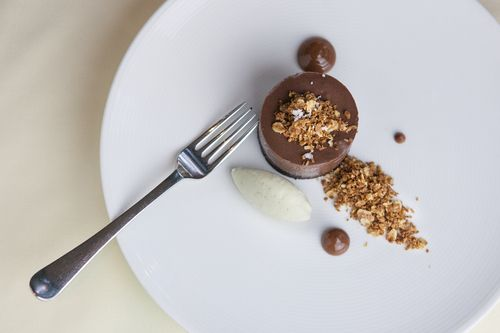 #Recipe - Taza #Chocolate #Crémeux from Pastry Chef Brian Mercury of Harvest: Hand-harvested #SeaSalt, Vanilla #Mascarpone, Brown Sugar #Granola, #SaltedCaramel, and Malted Milk Chocolate Sauce
