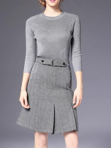 Round Collar 3/4 Sleeve Knit Woolen Top And Slim Fit Skirt Suit
