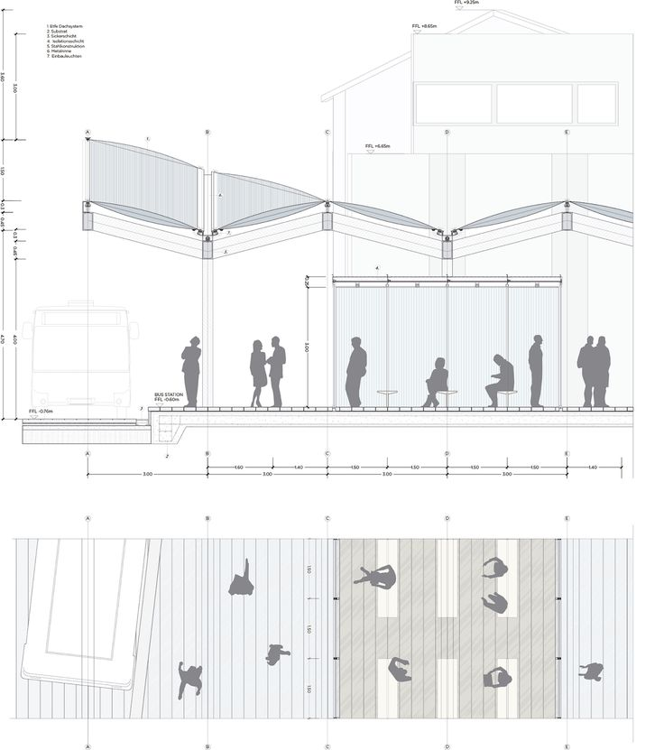 Plan Elevation Section Of Bus Stop : Images about dan on pinterest micro house