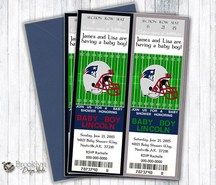Patriots Baby Shower Ticket Invitation - Can Be Changed To Any NFL Team - Digital File - Baby Shower Football Event Ticket Party Invitation by BrooklynDesignStudio on Etsy https://www.etsy.com/listing/236491139/patriots-baby-shower-ticket-invitation
