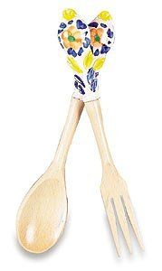 """Handmade Amalfi Salad Tongs From Italy by Italian Pottery Outlet. $14.00. Handmade and handpainted on the Amalfi Coast of Italy. Great gift for anyone. Practical and Beautiful. 10.5"""". Please note: Colors will be assorted, not necessarily as pictured.. The """"Amalfi Collection? is a charming assortment of decorative tiles, house numbers, wall hangings, etc. from the Amalfi coast. Along the Mediterranean Sea from Sorrento to Positano, the Amalfi coast is one of the most famous ..."""