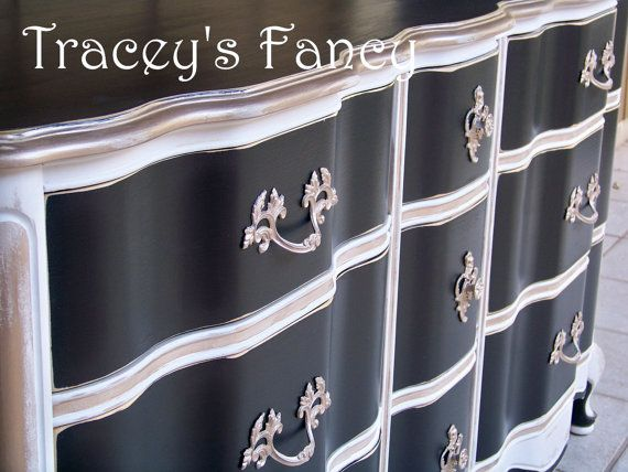 REDUCED / Vintage Painted French Provincial Dresser Buffet Black Cream Gold