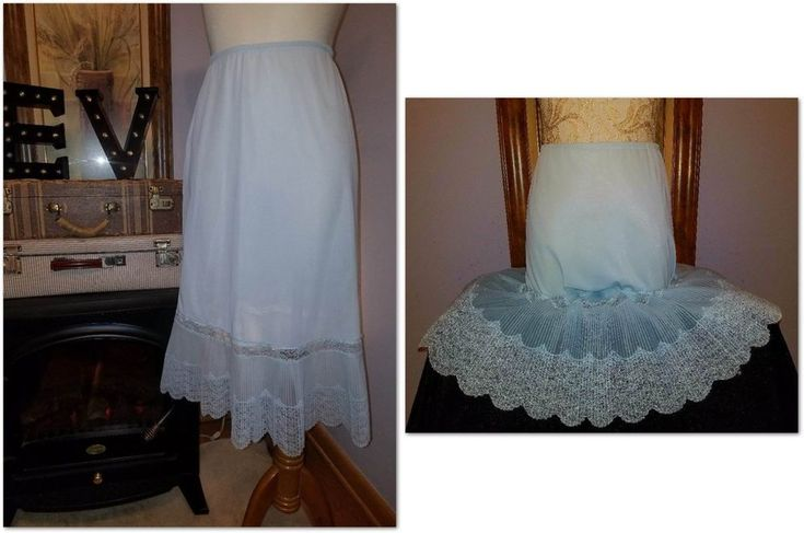 VAN RAALTE OPAQUELON Half Slip Skirt Blue Lace Chiffon Nylon M-L New NOS Vtg #VanRaalte #HalfSlips
