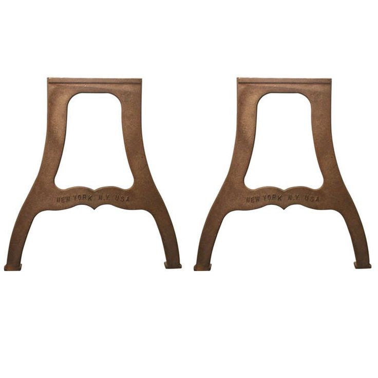 Pair of Ductile Iron Industrial Table Legs with 'New York NY USA' Lettering | 1stdibs.com