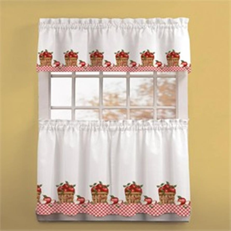 Cortina para cocina cortinas y cenefas pinterest for Apple kitchen decoration set