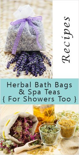 Herbal Bath & Shower Bags: {Recipes & How-To} Make drawstring pouches out of cheesecloth, organza or muslin, enough to hold anywhere from 1/4 cup to 1/2 cup of a favorite herbal mix. Tie them tightly shut so the loose ingredients won't float out. After use the contents can be emptied, the pouches rinsed out then washed to be refilled and reused.
