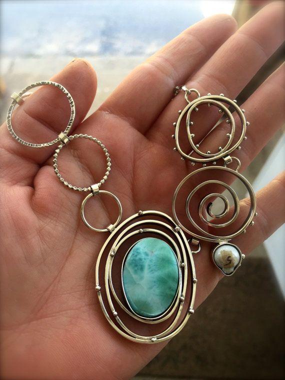 Larimar Pendant Sterling Silver Spiral by DeliasStudioLimited